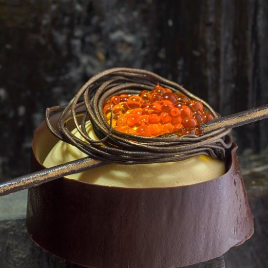 Espuma de mandarina caviar...
